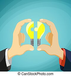 Two men fold bulb in the form of a puzzle. Symbol partnership an
