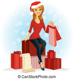 Christmas Shopper - A woman with shopping bags sits on a...
