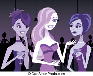 Women Talking in a Club - Three women socialize and gossip...