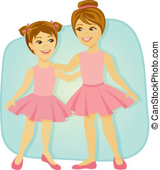 Little girls dressed for ballet - Two young sisters dressed...