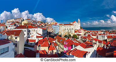 Alfama on a sunny afternoon, Lisbon, Portugal - Panormic...