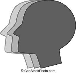 cabeça, três, silhuetas, monocromático, macho, ícone
