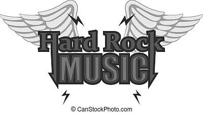 Hard rock music icon monochrome