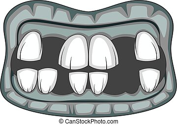 Zombie teeth icon monochrome