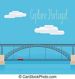Dom Luis bridge in Porto, Portugal vector illustration....