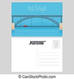 Postcard from Portugal with Porto bridge over Douro river...