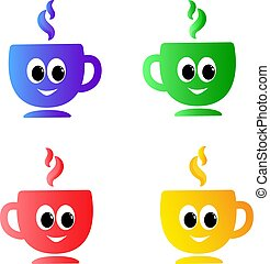 vector set of emotion colored the cups with funny eyes