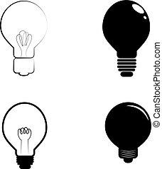 Bulb icons on white background. Vector illustration.