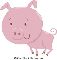 piglet farm animal character - Cartoon Illustration of Pig...
