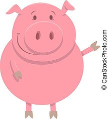 happy pig farm animal character