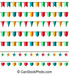 Colorful bunting and garland set vector illustration