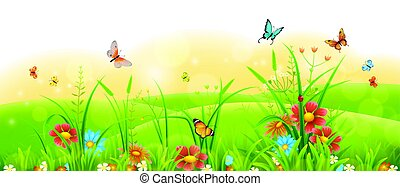 Bright summer banner - Summer sunny meadow banner with green...