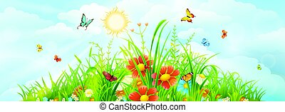 Summer meadow background - Summer and spring meadow...