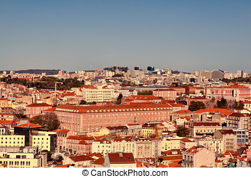 View from above over the city of Lisbon in Portugal