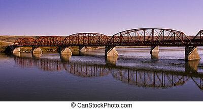 Red Bridge over the Calm River