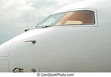 Empty pilot cabin - Close-up view of empty pilot cabin of...