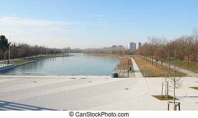 Artificial pond in Parco Nord in the north of Milan -...