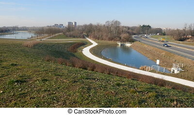 Panoramic view of Parco Nord in the north of Milan -...