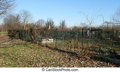 Small urban garden in winter in Parco Nord, a park created...