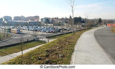 Interchange parking beside Parco Nord in the north of Milan...