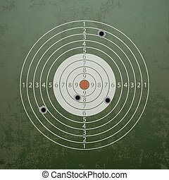 Military target with bullet holes.