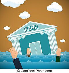 Building of the bank drowning in the sea. Bankruptcy and financi