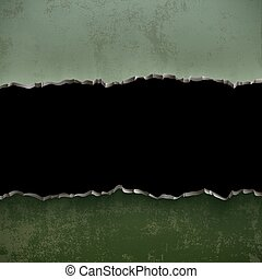 Metallic green torn surface. Textured military background.