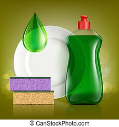 Plastic bottle with soap for washing utensils, plate and...