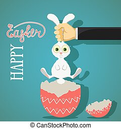 Happy Easter greeting card with bunny and egg.