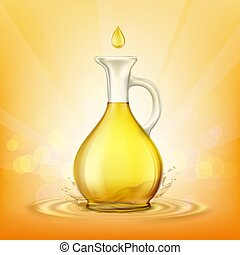 Glass jug with yellow oil and a spray of droplets.