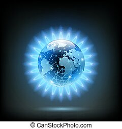 Round blue flame of butane with Planet Earth inside. Gas...