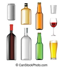 Bottles with alcoholic drinks isolated on white background. Stoc