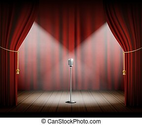 Microphone stands on stage with a red curtain.