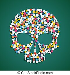 Skull is composed of pills and tablets. Stock vector flat...