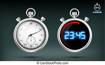 Set of sports stopwatches. Stock vector illustration.