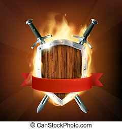 Coat of arms, a wooden shield with swords and ribbon on fire. St
