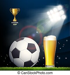 Soccer ball and a glass of beer in the stadium.
