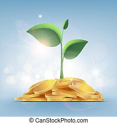 Green plant with leaves growing on a pile of gold coins.