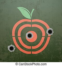 Military target in the form of fruit apple. Metal background wit