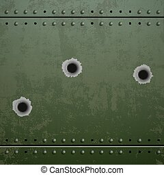 Holes from the shots on the green plate of armor metal....