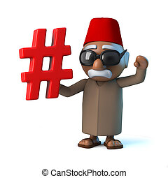 3d Funny cartoon Moroccan in fez holding a hash tag symbol -...