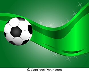 Football / soccer Ball Isolated on Green Background with Space for Your Text