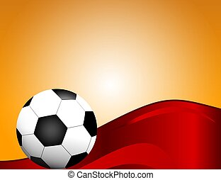 Football / soccer Ball Isolated on Red Background with Space for Your Text.