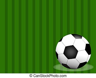 Football / soccer Ball Isolated on Football field Background with Space for Your Text.