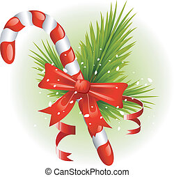 Christmas candy cane decorated with pine branches and a bow....