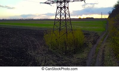 Flying over power line at sunset - Aerial syrvey - flying...