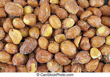 Close view of sugar and salted peanuts