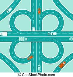 Car GPS Monitoring Top View Concept - Car GPS monitoring top...
