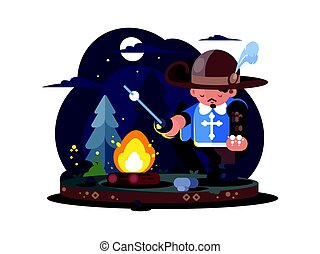 Musketeer in hat with feather near fire in forest. Vector...