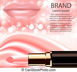Illustration of advertising decorative cosmetics lipstick lips sparkling background and wave of silk